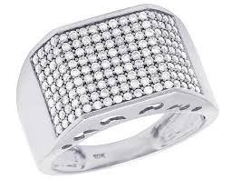 mens white gold wedding band men s 10k white gold genuine diamond iced wedding band ring 1 1 4