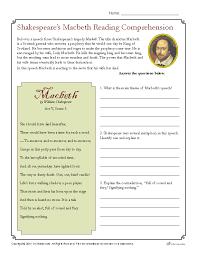 shakespeare u0027s macbeth reading comprehension worksheet
