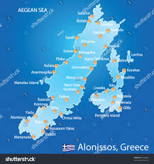 Greece Map Blank by Island Alonissos Greece Map On Blue Stock Vector 91309862