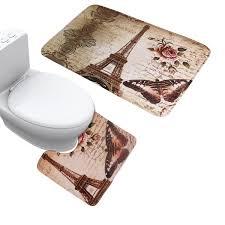 Eiffel Tower Home Decor Accessories Amazon Com Jillban Eiffel Tower Flannel Mat Set Toilet Cover Set