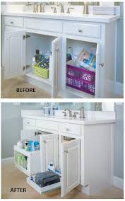 Tiered Bathroom Storage Organize Bathroom Cabinets Use Tiered Sliding Shelves To