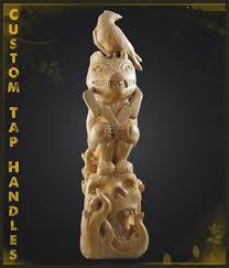 custom totem pole tap handle wildvine carvings