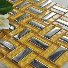 Mirrored Mosaic Tile Backsplash by Crystal Mosaic Tile Gold Brick Silver Plated Glass Wall Tiles