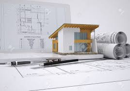 scrolls architectural drawings and small house architect concept