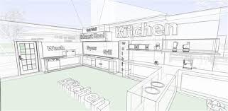 restaurant kitchen layout 3d interior design