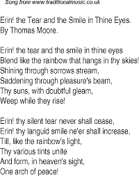old time song lyrics for 30 erin the tear and the smile in thine eyes