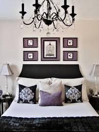 Interior Excellent Black White Purple Bedroom With Black Crystal