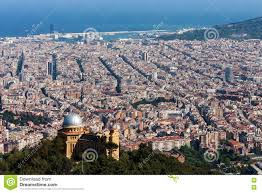 barcelona city view view of barcelona city from mountain tibidabo stock photo image of