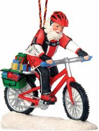 bicycle gift hub mountain bike santa ornament oi99591