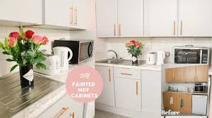 how to paint kitchen cabinets veneer how to paint laminate mdf kitchen cupboards work space makeover