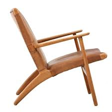 model ch 25 hans wegner lounge chair in leather for sale at 1stdibs