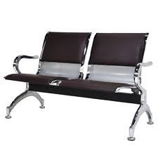 Pvc Bench Seat Heavy Duty 2 Seat With Desk Chrome Reception Area Airport Waiting