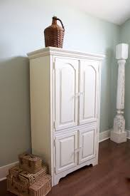 White Armoire Chalk Painted Armoire Makeover 2 Bees In A Pod