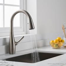 stainless steel kitchen faucets kraus kpf1670sfs single handle pull kitchen faucet with all