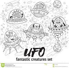 ufo fantastic creatures set in outline vector illustration