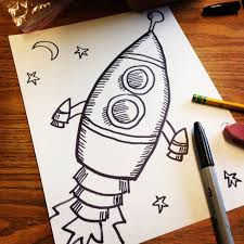 projects for kids old style rocket drawing