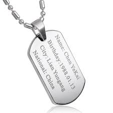 Necklace With Name Engraved Customized Military Dog Tag Id Name Personalized Necklace Buy