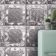 tin tile charcoal wallpaper wm 010 removable wallpapers