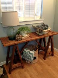 blue roof cabin diy sawhorse console table