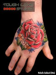 red rose flower with nice mom banner tattoo on hand golfian com