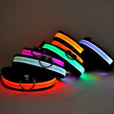 collar light for small dogs nylon pet dog collar led light night safety light up flashing glow