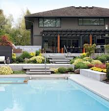 Backyard Steps Ideas Staggered Concrete Patio Steps Contemporary Pool