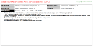 Good Resume Titles Examples by Die Attach Operator Resumes Samples