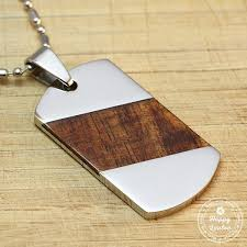 steel dog tag necklace images Stainless steel dog tag pendant with slanted koa wood inlay 2 75 quot l x jpg