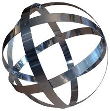 stainless steel banded sphere 18 contemporary garden statues