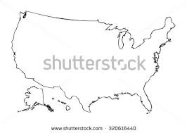 america map no borders line map united states america stock vector 263026742