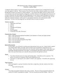 Examples Of Character Analysis Essays Character Analysis Paper