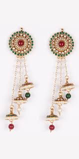 jhumki style earrings buy kashmiri style jhumki earrings with three beaded chain