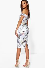 flower dress rosie the shoulder floral print midi bodycon dress boohoo