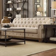 Chesterfield Tufted Sofa by Knightsbridge Beige Fabric Button Tufted Chesterfield Sofa And