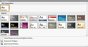 applying themes in powerpoint word and excel 2007 powerpoint