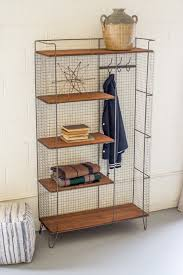 rustic industrial home decor metal locker with five honey wood shelves and coat rack http www