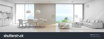 sea view kitchen dining living room stock illustration 660889171