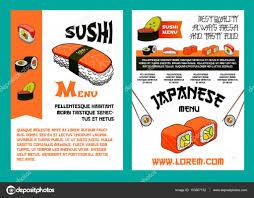 sushi menu for japanese cuisine restaurant design u2014 stock vector