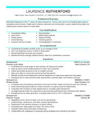 What Is Core Qualifications Best Automotive Salesperson Resume Example Livecareer