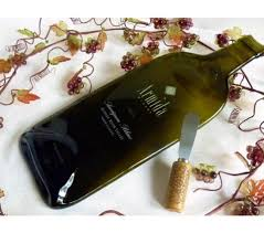 wine bottle cheese plate slumped glass wine bottle cheese plate from armida winery