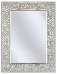 Contemporary Vanity Mirrors Rectangle Bathroom Vanity Mirror With Mosaic Crystal Floral Motif