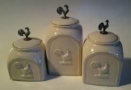 oggi kitchen canisters 3 oggi rooster white w metal rooster kitchen canister container