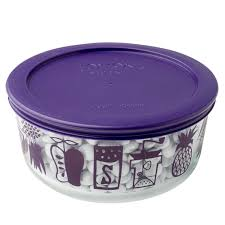 pyrex simply store 4 cup mod kitchen storage dish w purple lid
