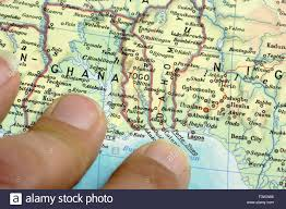 Ghana Africa Map Map Of Africa Ghana And Togo Dahomi Keta Lagos Nigeria Stock