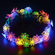Solar Power Led Christmas Lights Solar Powered Multi Color Lotus Flower String Lights 30 Led