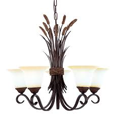 Dining Room Light Fixtures Lowes Shop Portfolio 26 In 5 Light Bronze Tinted Glass Standard