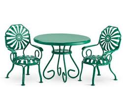 green metal outdoor table american doll kit table 2 chairs green metal patio furniture