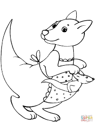 kangaroo mother and baby coloring page free printable coloring pages