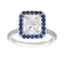 sapphire halo engagement rings two by radiant blue sapphire halo engagement ring