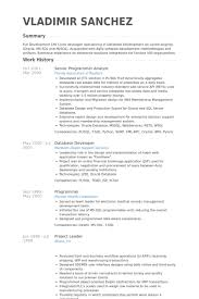 Sample Resume For Oracle Pl Sql Developer by Senior Programmer Analyst Resume Samples Visualcv Resume Samples